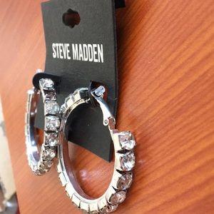 "New Steve Madden Large Crystal Hoops 2"""